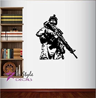 Wall Vinyl Decal Home Decor Art Sticker Army Soldier With Gun Military Man Guy Room Removable Stylish Mural Unique Design For Any Room Creative Design Logo House