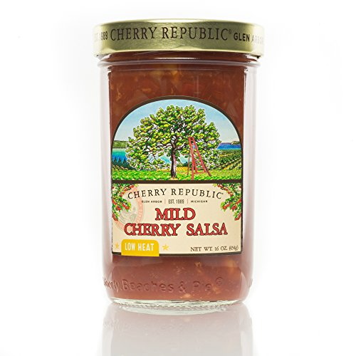 Cherry Republic Mild Cherry Salsa - Low Heat Salsa Mix with Authentic Michigan Cherries - Sweet Fruit Salsa with Mild Heat - Works Great as a Recipe Ingredient & Dip - 16 Ounces