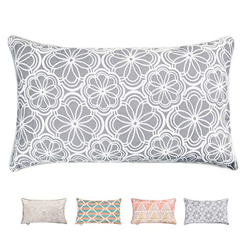 Hahadidi Decorative Throw Pillow Covers Flower Crewel Embroidery Pillow Case Cushion Covers for Bed Sofa Couch Car,Cotton Canvas Home Décor Light Grey,14 x 24 Inch