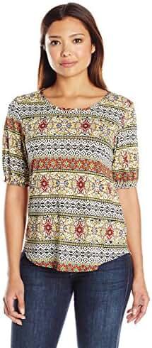 Star Vixen Women's Plus Size Elbow Sleeve Stretch Ity Knit Keyhole Cutout Back Shirttail Hem Top