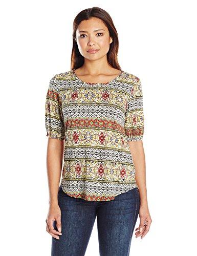 Petite Elbow - Star Vixen Women's Petite Elbow Sleeve Keyhole Back Shirttail Hem Top, Ethnic Print, PL