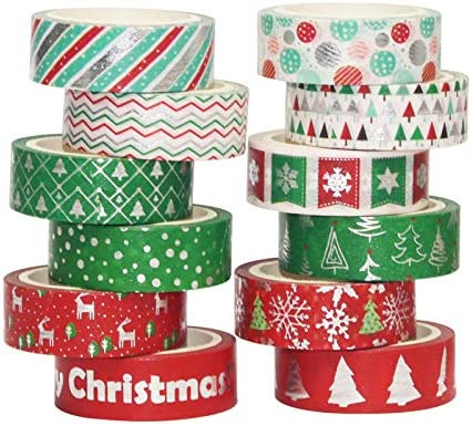 12-Pack 2 inch x 10 Yard Iconikal Christmas Style Printed Duct Tape