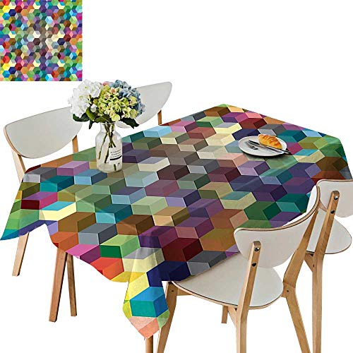 (UHOO2018 Polyester Square/Rectangle Color Cubes Mosaic Party Festive Theme Modern Fun Geometric Artwork Olive Blue Purple Kitchen Washable,52 x 108inch)