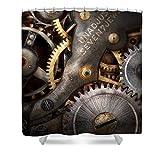 Pixels Shower Curtain (74'' x 71'') ''Steampunk - Gears - Horology''