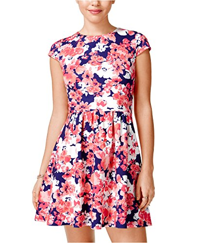 B Darlin Juniors' Floral-Print Mesh-Back A-Line Dress