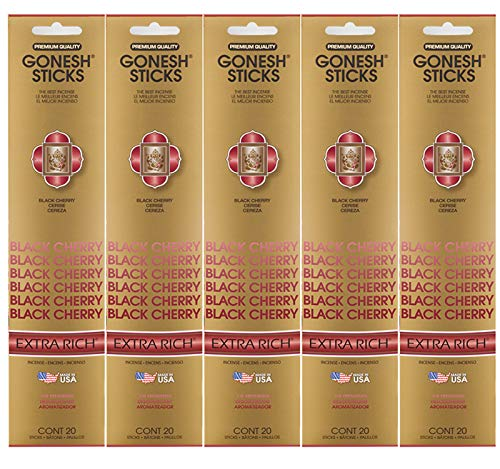 Rich Cherry Wood - Gonesh Incense Sticks Extra Rich Collection - Black Cherry 5 Packs (100 Total)