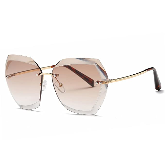 f457d6a036ce AEVOGUE Sunglasses For Women Oversized Rimless Diamond Cutting Lens Sun  Glasses AE0534 (Gold Brown
