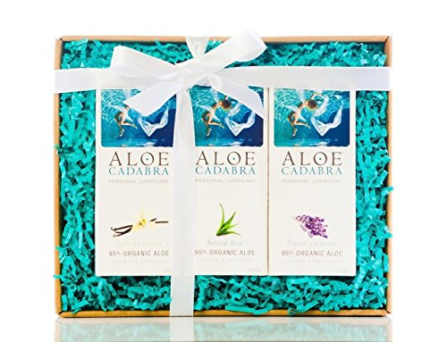 Aloe Cadabra Organic Personal Lubricant & Natural Moisturizer, Best Gift Box for Her and Him, Natural and Flavored Lubes