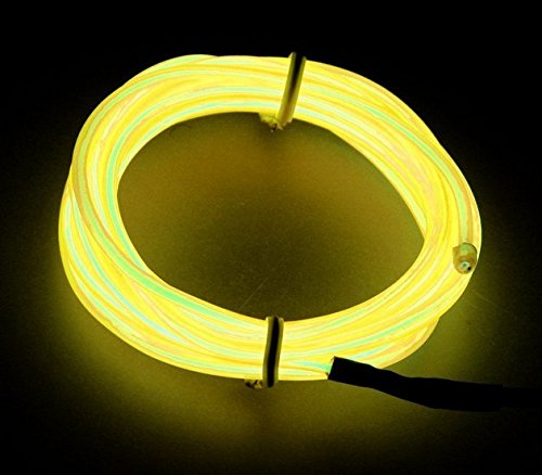 Amicc El Wire 3m 9ft Yellow Neon Light Neon Glowing Strobing Electroluminescent Wire for Burning Man Cosplay Dress Halloween Christmas Party Decoration