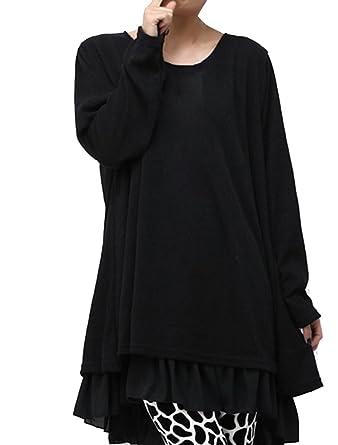 477d0c02b731 BIUBIONG Donna Maglione Invernale Maglia Pizzo Vestito Corto Girocollo  Elegante Casual Moda Maniche Lunghe  Amazon.it  Abbigliamento