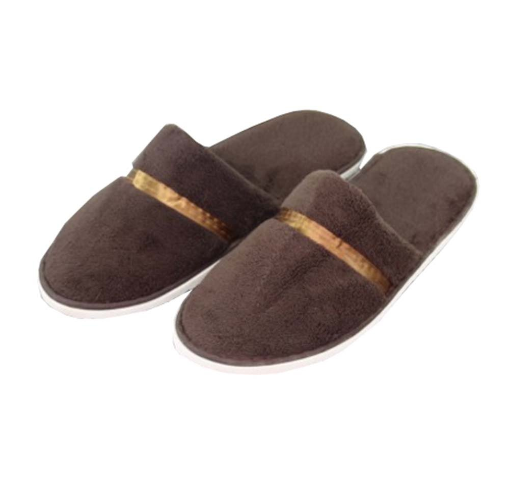5 Pairs Hotel Disposable Slippers Disposable Spa/Salon Slippers,Brown Black Temptation