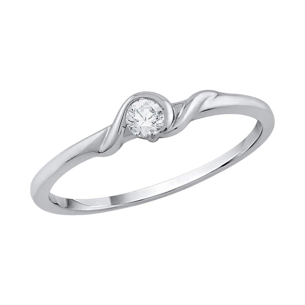1//10 cttw, G-H,I2-I3 3 Diamond Promise Ring in Sterling Silver Size-6