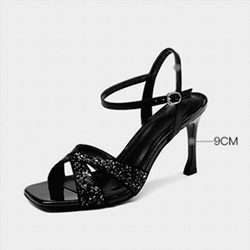 EU38 MUMA Sandales Sexy Escarpin 5 Noir Toe Stiletto Talons Hauts Taille Couleur Noir CN38 Femme Chaussures Open UK5 qwRqXr1O5