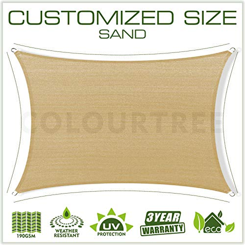 ColourTree Custom Size 10 x 16 Sand Beige Sun Shade Sail Canopy UV Block Rectangle – Commercial Standard Heavy Duty – 190 GSM – 3 Years Warranty