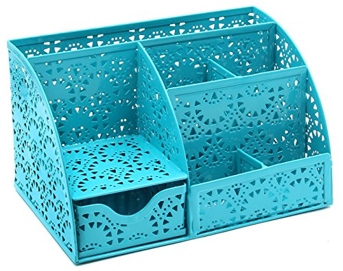 EasyPAG Cute Office Desk Organizer Gear Pattern 5 Compartments Desktop Accessories Caddy with Drawer ,Dark Teal