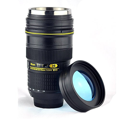 Mango Spot Thermo Lens Cup with Stainless Steel Insulated Tumbler, 1:1 Nikon 24-70mm F2.8G Lens Imitation, 16oz, Black with Transparent Cover Lid