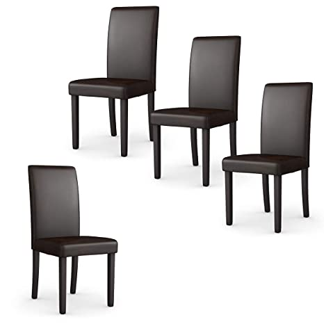 Giantex Set of 4 Upholstered Dining Chairs Set W/PU Leather Ergonomic  Design Stable Frame Wear and Resistant Cover, Back Size 14.5\