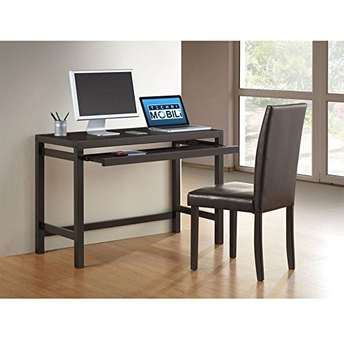 TECHNI MOBILI Modern Matching Desk with Keyboard Panel and Chair Set - Wenge by Techni Mobili