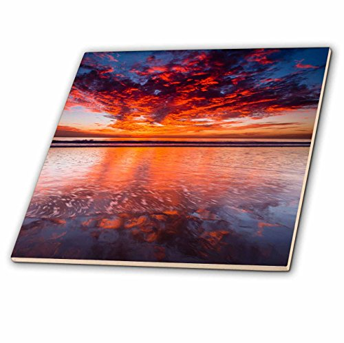 (3dRose Danita Delimont - Sunsets - Dramatic sunset over Channel Islands, Ventura, California - 6 Inch Glass Tile)