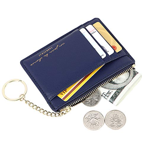 2011 Co Signers Card - Women's 8 Cards Slim Minimalist Card Holder Case Zip Coin Changes Front Pocket Wallet, navy blue