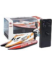 Dilwe Mini RC Barco de Carreras, 4 Canales 2.4GHz Mini Barco de Control Remoto Lancha de Carreras Modelo para Ninos(Naranja)