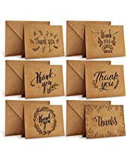 Ohuhu Thank You Cards Of, 36 Pack Brown Kraft Paper 6 Design Of Assorted Thank U Greeting Note Card With Envelopes And Stickers For Father's Day, Business, Wedding, Baby Shower, Blank Inside, 4 X 6