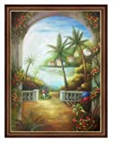 Caribbean Tropical Landscape Hand Painted Oil Painting, Tropical Terrace, Hawaii Tahiti Palm Coconut Tree Seascape 36x48 (Mottled Copper, 53.25'' X 41.25'') Other Frame Options Available