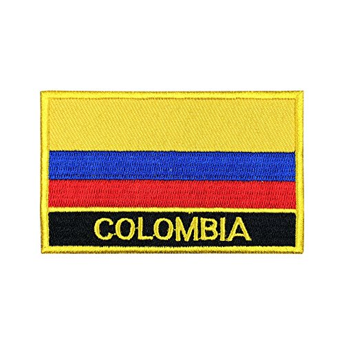 Colombia Sew-On Flag Patch/International Morale Travel Patches Collection Parche Colombiano de la Bandera (Colombian Iron-On w/Words, 2