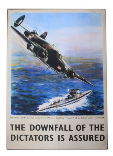 RAF COSTAL COMMAND HUDSON BOMBER TIN WALL PLAQUE - 28x20cms (Official RAF Licensed Product) - The Downfall of Dictators is Assured by Widdop - Hudson Bingham