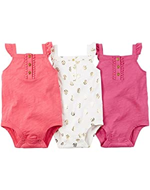 Carters Baby Clothing Outfit Girls 3-Pack Sleeveless Bodysuits Multi Pink Foil