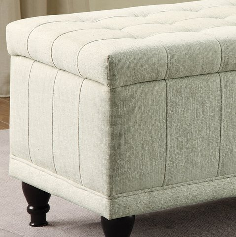 INSPIRE Q Rustic Sand Upholstered Tufted Storage Ottoman Bench for