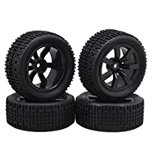BQLZR 7 Spoke Wheels Rims U Shape Pattern Rubber Tyre Model Vehicle Parts for RC 1:10 On-Road Racing Car Rally Car Pack of 4