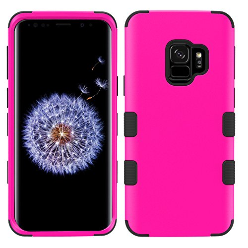 - MyBat Cell Phone Case for Samsung Galaxy S9 - Titanium Solid Hot Pink/Black Solid