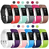 Soulen Bands Compatible for Fitbit Charge 2, 12-Pack Classic Adjustable Replacement Band Wristbands Large Small Band with Secure Metal Clasp for Fitbit Charge 2 Suitable for Women Men