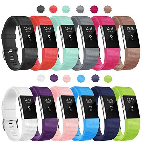 Soulen Compatible for Fitbit Charge 2 Bands, 12-Pack Soft Accessory Replacement Wristband Strap Classic Small Band with Secure Metal Clasp for Fitbit Charge 2