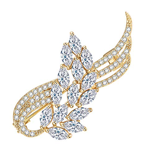 Yonhi Brooch Pins for Women Vintage Flower Brooch Pins for Women Wedding Party Jewelry Brooch Pin Silver Gold (Gold)