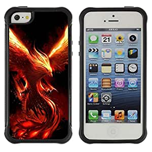 SHIMIN CAO@ Fire Dragon Monster Demon Phoenix Rugged Hybrid Armor Slim Protection Case Cover Shell For iphone 5S CASE Cover ,iphone 5 5S case,iphone5S plus cover ,Cases for iphone 5 5S