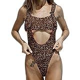 New in 2019! Women's Leopard Print Sexy Bikini Solid Color Padded One-Piece Swimsuit Bra Swimwear Beachwear (S, Brown)