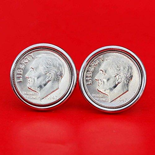 (US 1947 Roosevelt Dime Gem BU Uncirculated 90% Silver 10 Cent Coin Cufflinks NEW)