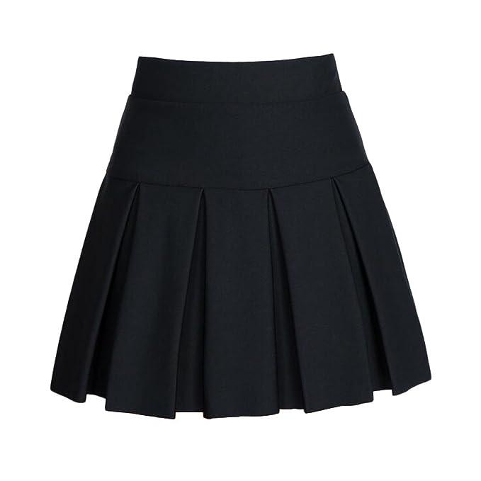 0ea3b4289 Angelliu Women Lady Plus Size Pleated Skirt Anti-exposure School Uniform  Formal Skirts Mini Dress