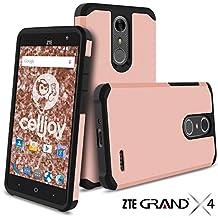 ZTE Grand X4 Case, ZTE Grand X 4 Case, Celljoy [Liquid Armor] ZTE Z956 Slim Fit [Dual Layer Series] TPU Protective Hybrid [[Shockproof]] - Thin Hard Cover (Metallic Rose Gold)