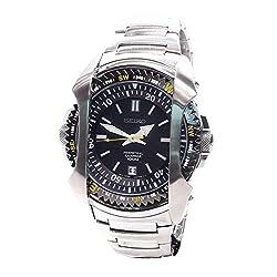 Seiko Men's SNQ089 Perpetual Calendar Black Dial Stainless Steel Watch
