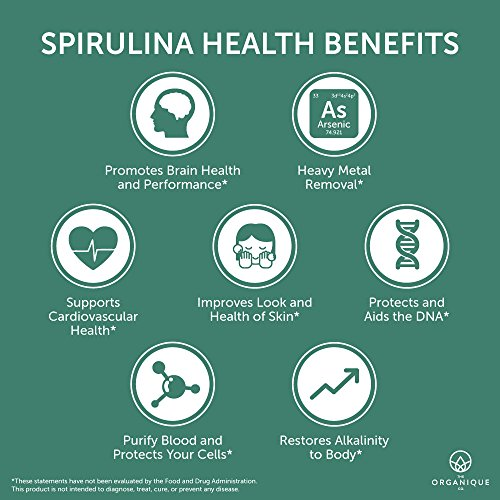 Spirulina Tablets 240ct 500m - Boosts Energy, Supports Immunity - Certified Organic Superfood, Non-Irradiated, Raw, Non-GMO, Vegan, Gluten Free - Nutrient Density Bioavailability - by Organique by The Organique Co. (Image #2)