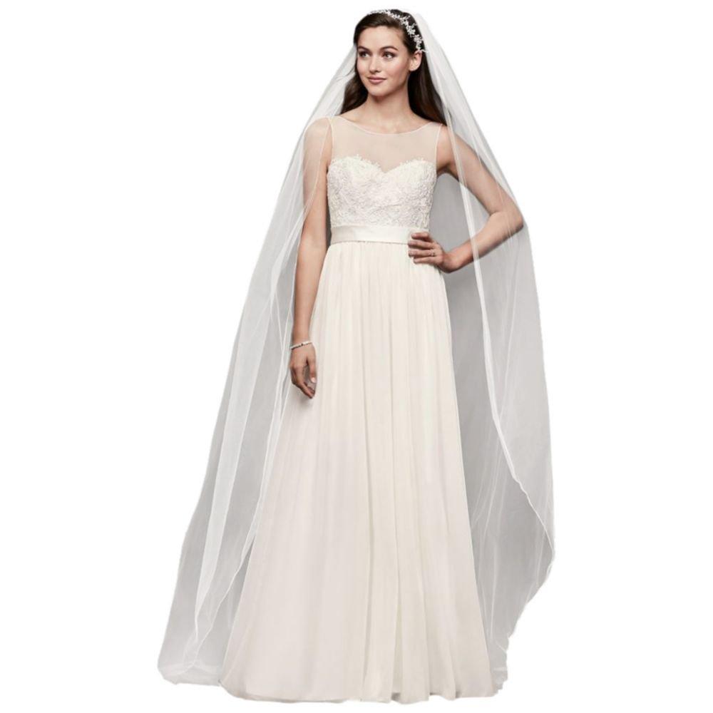 865744b5c01 Lace and Crinkle Chiffon Sheath Wedding Dress Style OP1337 at Women s  Clothing