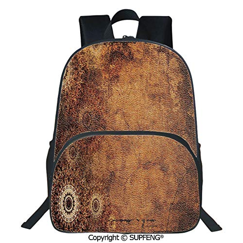 SCOXIXI Square Front Bag Backpack Aged Old Texture Print Artistic Floral Motifs Vintage Upholstery Concept (15.75