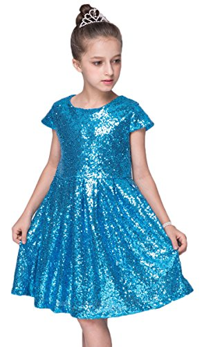 Shiny Toddler Little/Big Girls Shiny Sequins Birthday Party Dance Dress 7 to 8(Tag140),Blue