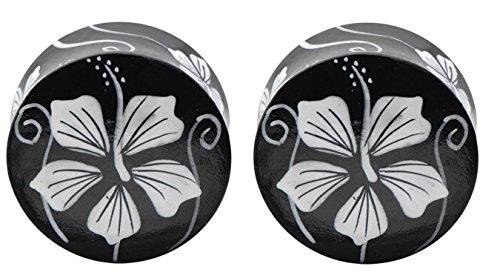 Zaya Body Jewelry Pair of Black Hand Painted Flower Wood Organic Ear Plugs Gauges 00g 0g 2g 4g 6g 1/2 7/16 9/16 5/8 (9/16)