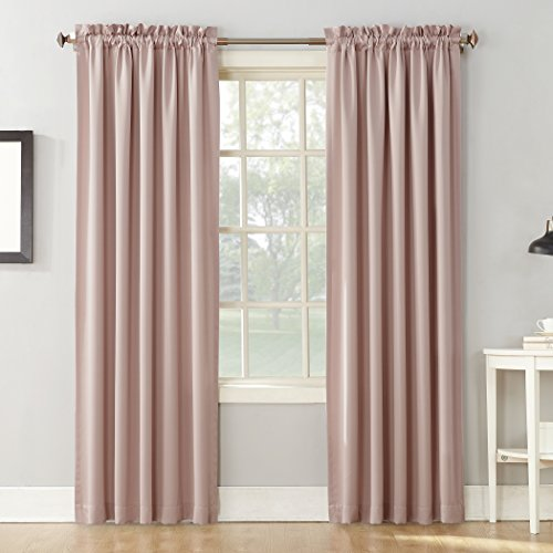 Sun Zero Barrow Energy Efficient Rod Pocket Curtain Panel,Blush Pink,54