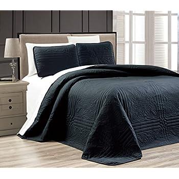 Amazon 3 Piece Black Oversize Stella Grande Bedspread King