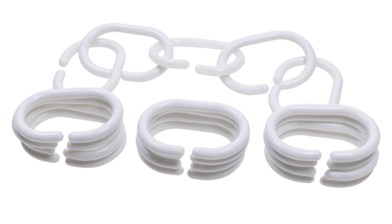 White PENTA ANGEL 50 Pieces Plastic Bathroom Shower Curtain C Rings Drape Clips Hangers Shower Curtain Hooks Drapes Window Curtains Robs